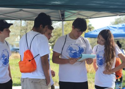 Pictured is a team of five students at the Indian River Lagoon Envirothon competition. The five students are gathered around and looking at their test.